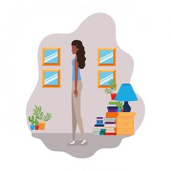 Mulher, ficar, com, bookshelf, de, madeira, e, livros