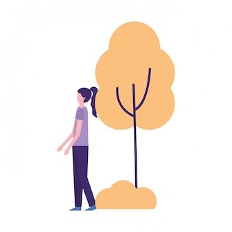 Mulher, ficar, perto, planta árvore