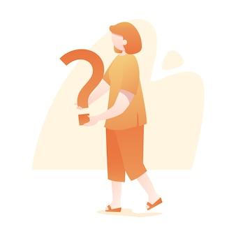 Mulher, ficar, segura, pergunta, marca, ilustração