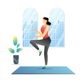 Mulher fitness em casa vector premium