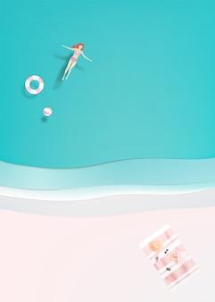 Mulher, flutuante, mar