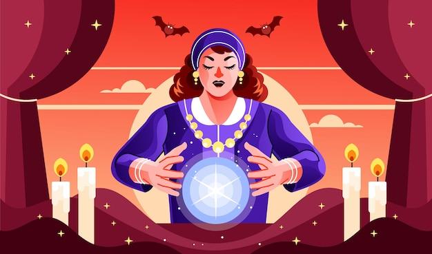 Mulher fortune teller trabalhando com bola de cristal