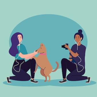 Mulher, fotógrafo, tirando uma foto, mulher, cão, animal estimação, ilustração, desenho