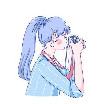 Mulher fotógrafo