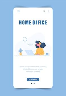 Mulher freelancer. modelo de página de destino. garota em fones de ouvido com laptop sentado à mesa. modelo de página de destino. fundo móvel. ilustração do conceito para estudar, educação on-line, trabalhar em casa.