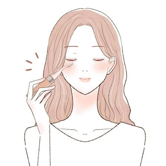Mulher frisando os cílios com buehler quente. sobre um fundo branco.