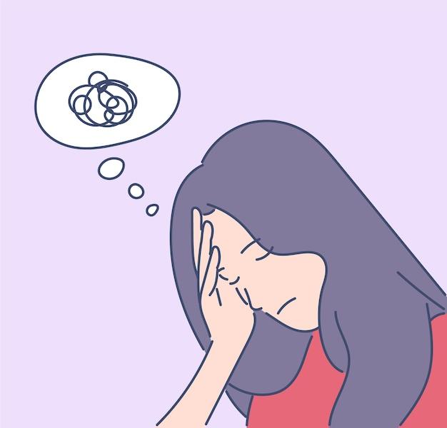 Mulher frustrada desenhada à mão