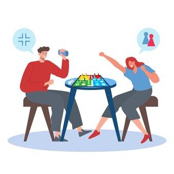 Mulher ganhando no jogo de ludo