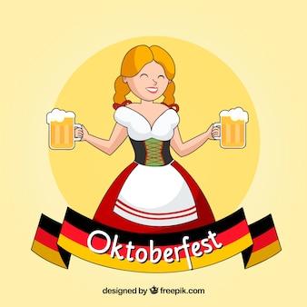 Mulher geman feliz com canecas de cerveja e bandeira alemã