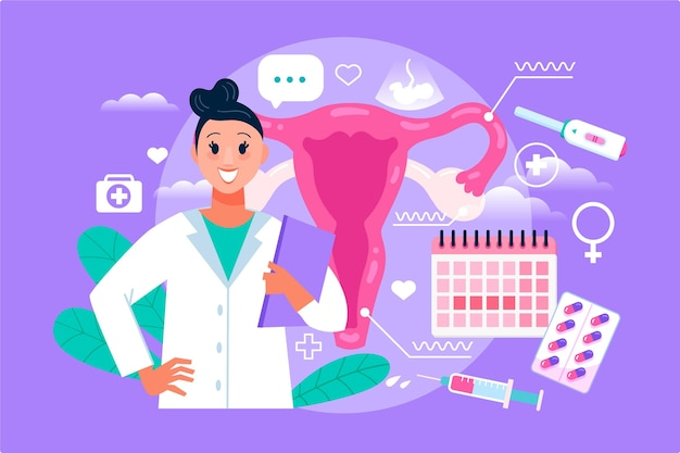 Mulher ginecologista ilustrada com elementos médicos