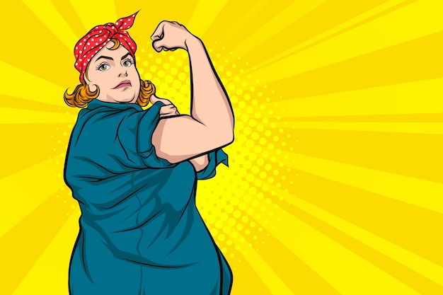 Mulher gorda, ações confiantes de que podemos conseguir pop art comic style