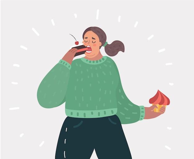 Mulher gorda com comida de bolo nas mãos