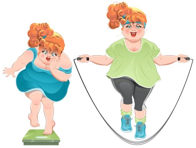 Mulher gorda com horror olha para a balança e depois pula em uma corda de pular
