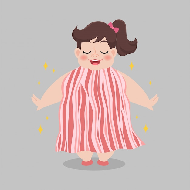 Mulher gorda com vestido de bacon
