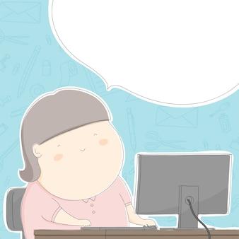 Mulher gorda do escritório com o trabalho no teste padrão estacionário