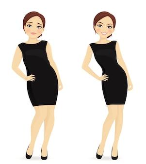 Mulher gorda e magra, antes e depois da perda de peso em vestido preto isolada