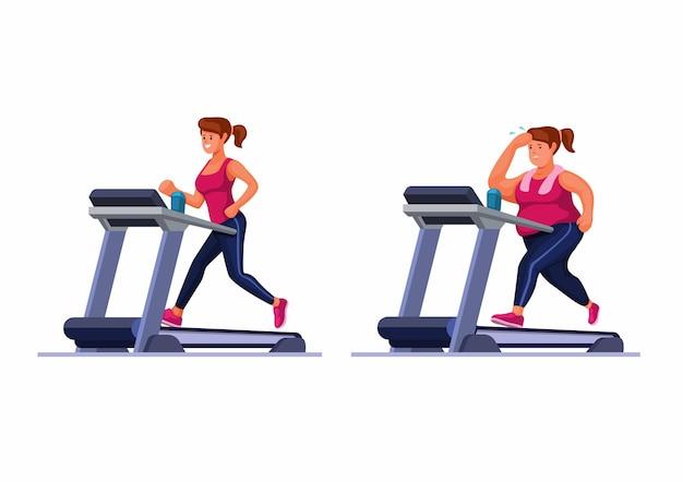 Mulher gorda e magra correndo na esteira, exercício em casa ou no vetor de ilustração de ginásio