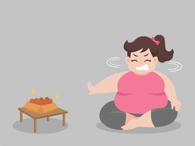 Mulher gorda grande com fome tenta não comer coxa de frango