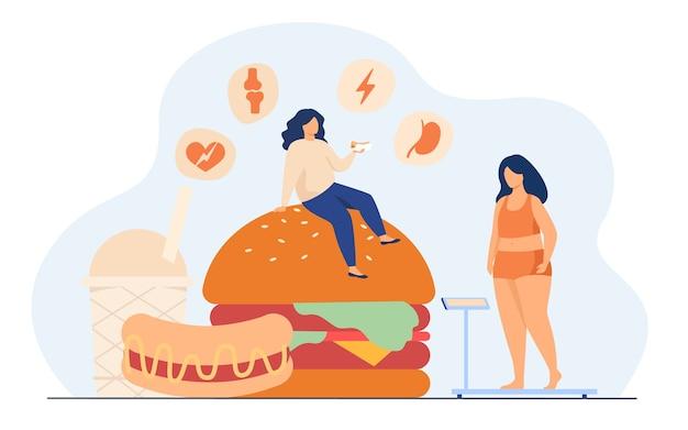 Mulher gorda mantendo uma dieta pouco saudável, comendo junk food, tendo colesterol alto e problemas de saúde.