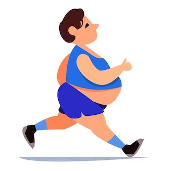 Mulher gorda pratica esportes de short azul corrida matinal retrato de uma personagem fofa