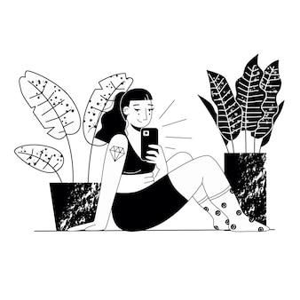 Mulher gorda tomando uma selfie pôster de conceito sobre ilustração vetorial plana positiva de corpo