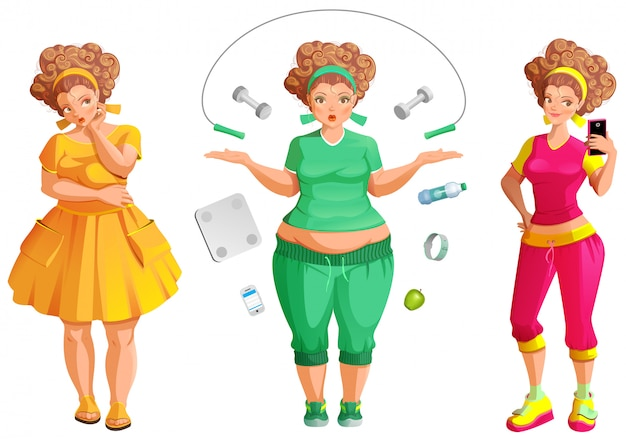 Mulher gorda weignt perda. fitness e dieta é o caminho para a saúde e beleza