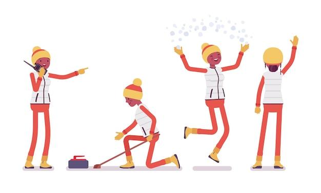 Mulher gosta de esportes, curling, atividades ao ar livre de inverno e diversão na estação de esqui