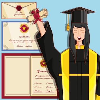 Mulher graduada com caráter nuform