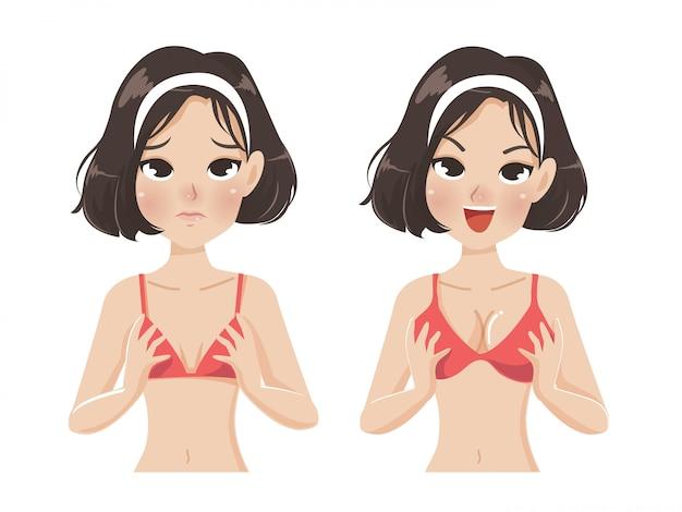 Mulher, grande, peito, pequeno, peito