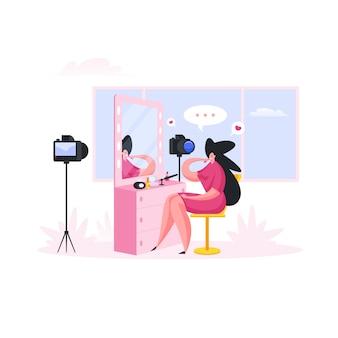 Mulher gravando vídeo para o blog de beleza. ilustração de pessoas dos desenhos animados
