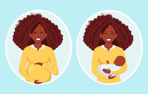 Mulher grávida afro-americana maternidade