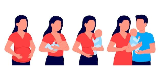 Mulher grávida, amamentando, mãe alimentando um bebê recém-nascido com o peito nas mãos.