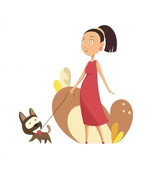 Mulher grávida, andar, com, cão