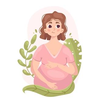 Mulher grávida bonita com plantas, gravidez e maternidade