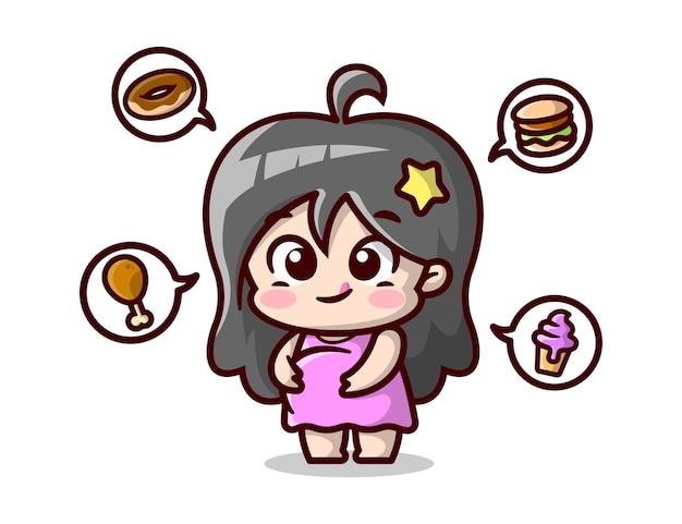 Mulher grávida bonita está pensando em alimentos ilustração de alta qualidade dos desenhos animados