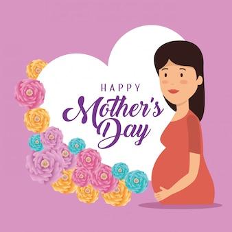 Mulher grávida com cartão para dia das mães