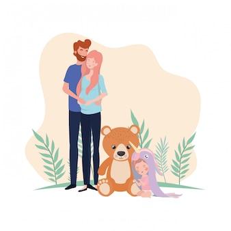 Mulher grávida, com, marido, e, bebê