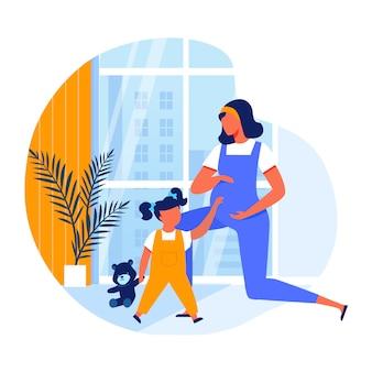 Mulher grávida, com, menina, apartamento, ilustração