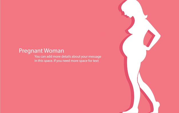 Mulher grávida com vetor de fundo rosa