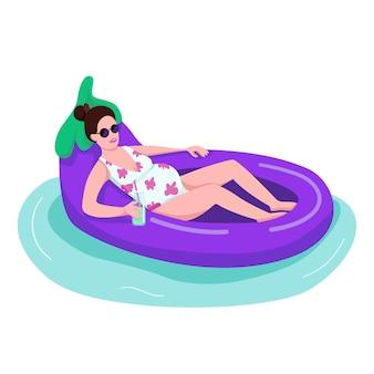 Mulher grávida em óculos de sol plana cor rosto sem rosto. jovem mãe bebendo cocktail. fêmea em traje de banho no anel inflável de berinjela. flutuando na ilustração isolado dos desenhos animados de brinquedo de água