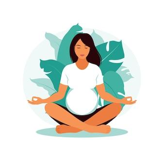Mulher grávida faz ioga e meditação. gravidez do conceito, maternidade, cuidados de saúde. ilustração em estilo simples.