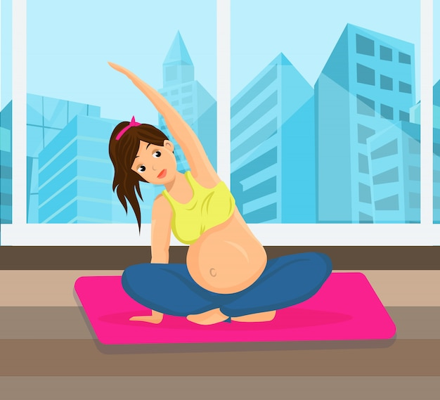 Mulher grávida, fazendo esportes