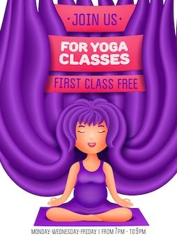 Mulher grávida fazendo exercícios. convite para aulas de ioga.