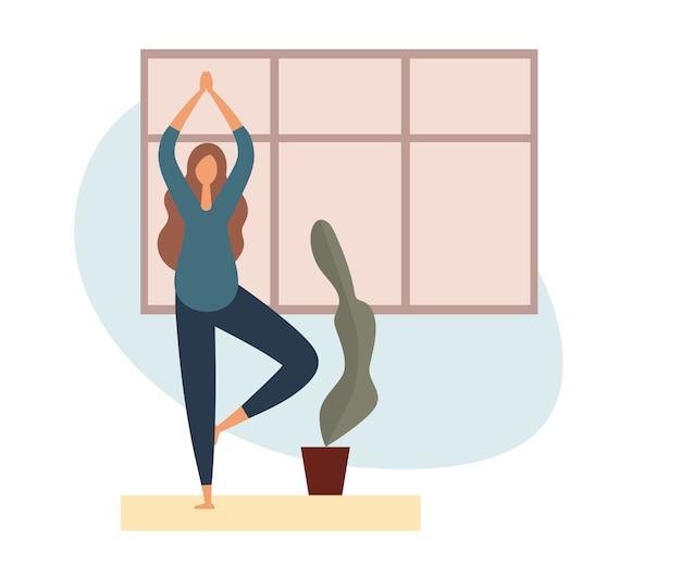 Mulher grávida fazendo yoga em casa. ilustração