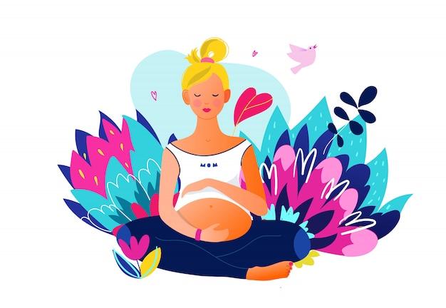 Mulher grávida fazendo yoga. personagem feminina grávida bem ajustada e ativa. gravidez feliz. yoga e esporte para grávidas. desenho animado plana