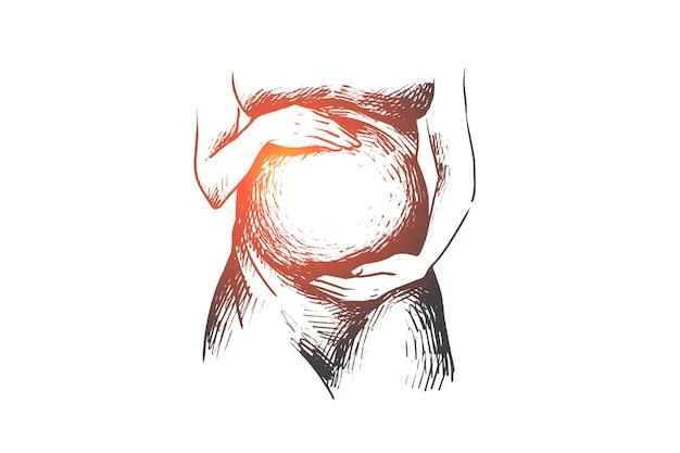 Mulher grávida feliz desenhada de mão segura a barriga nas mãos.