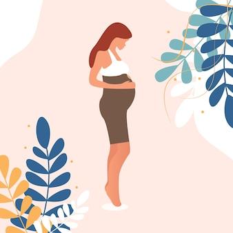 Mulher grávida feliz segurando a barriga. folhas lindas decoradas. ilustração vetorial