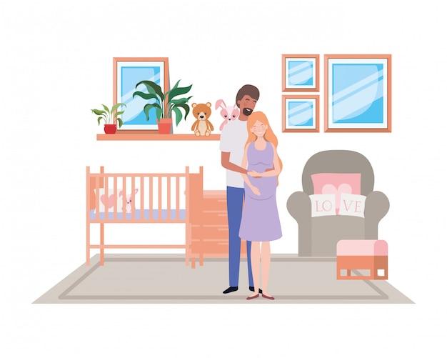 Mulher grávida isolada e homem