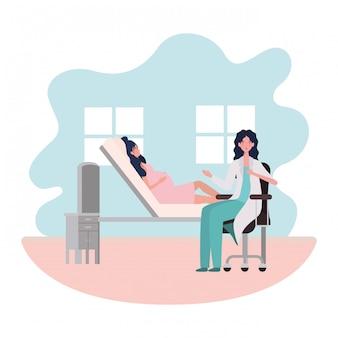Mulher grávida isolada e médico