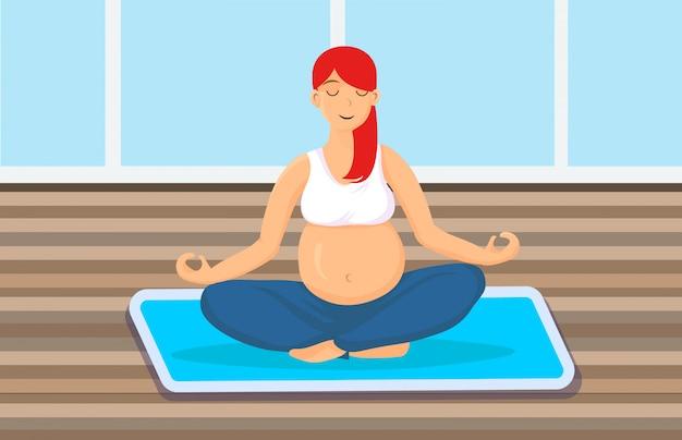 Mulher grávida, sentando, em, pose lotus